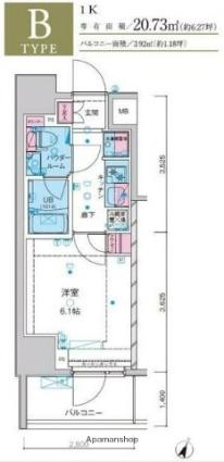 東京都葛飾区堀切8丁目[1K/20.73m2]の間取図