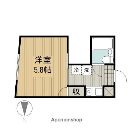 神奈川県大和市中央林間5丁目[1K/15.96m2]の間取図