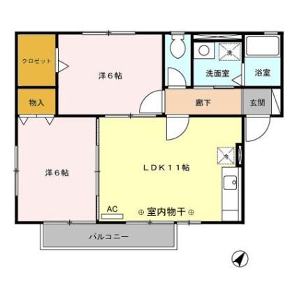 神奈川県相模原市中央区宮下本町2丁目[2LDK/53.81m2]の間取図