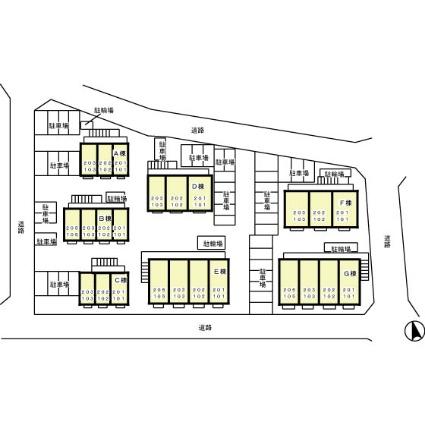 東京都町田市小山町[1K/26.93m2]の配置図