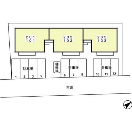 神奈川県相模原市中央区宮下本町2丁目[2LDK/53.81m2]の配置図