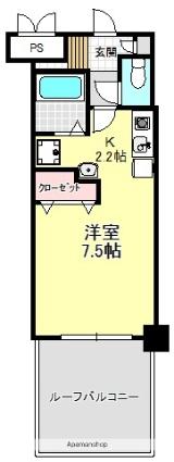 神奈川県横浜市青葉区しらとり台[1K/24m2]の間取図
