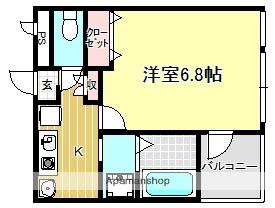 神奈川県横浜市青葉区あざみ野1丁目[1K/23.8m2]の間取図