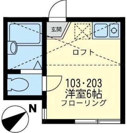 ユナイト横浜ウェリントン[1R/12.49m2]の間取図