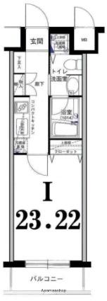 グリフィン横浜・山下公園弐番館[1K/23.22m2]の間取図