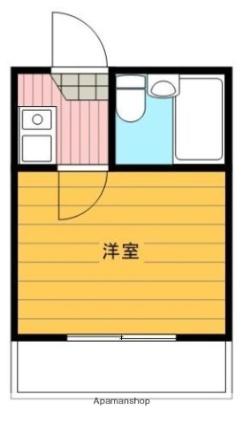 神奈川県横浜市鶴見区上の宮2丁目[1K/13.76m2]の間取図