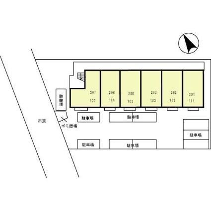 神奈川県厚木市愛甲東1丁目[1K/29.25m2]の配置図