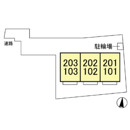 神奈川県厚木市戸田[2LDK/53.61m2]の配置図