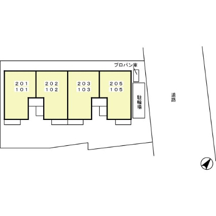 神奈川県厚木市下荻野[1K/40.18m2]の配置図
