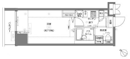 フェニックス横濱関内BAY MARKS[1K/22.23m2]の間取図