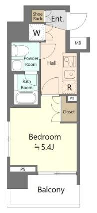 神奈川県横浜市南区井土ケ谷下町[1K/20.61m2]の間取図