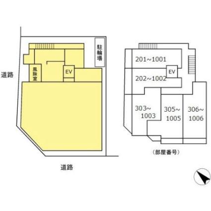 仮称Dーroom 長者町1丁目プロジェクト[1LDK/40.09m2]の配置図