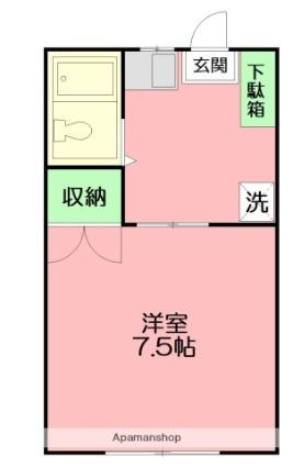 神奈川県伊勢原市板戸[1R/17m2]の間取図