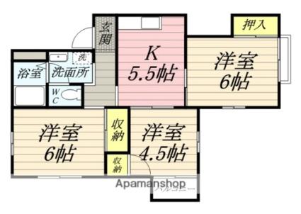神奈川県伊勢原市東大竹2丁目[3K/51.8m2]の間取図