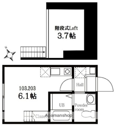 ハーミットクラブハウス山手山元町[1R/16.56m2]の間取図