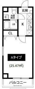 神奈川県横浜市南区宮元町3丁目[1K/25.47m2]の間取図