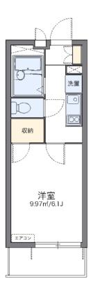 レオパレスハイム三ツ沢[1K/19.87m2]の間取図