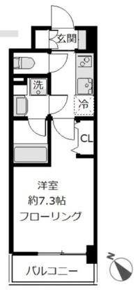 神奈川県横浜市磯子区磯子3丁目[1K/26m2]の間取図