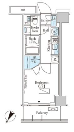 パークアクシス横濱大通り公園[1K/24.96m2]の間取図