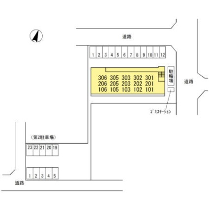 シャイン陽街[1LDK/45.04m2]の配置図