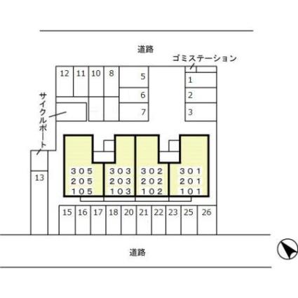 コンフォール亀田向陽[1LDK/46.83m2]の配置図