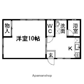 新潟県新潟市中央区白山浦1丁目[1K/31.42m2]の間取図