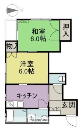 サニー春日K[2K/40.16m2]の間取図