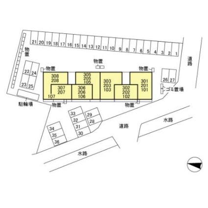 フェリシア[2DK/61.71m2]の配置図