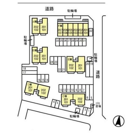 ロイヤルガーデン子安 A[2DK/44.71m2]の配置図