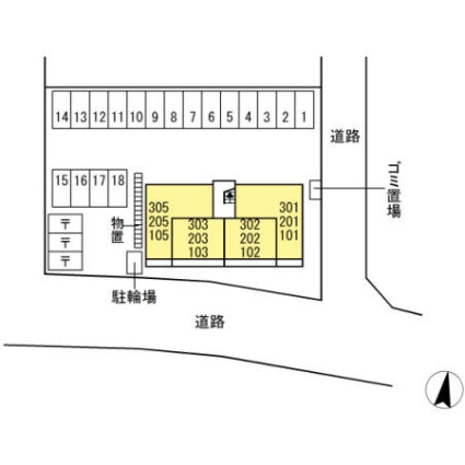 ラトン・ラヴール[1LDK/37.51m2]の配置図
