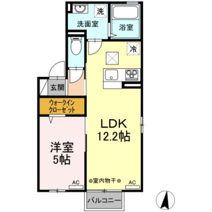 サンリジェール春日新田[1LDK/41.26m2]の間取図