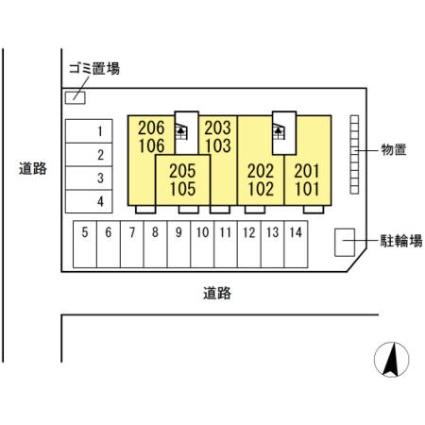 サンリジェール春日新田[1LDK/41.26m2]の配置図