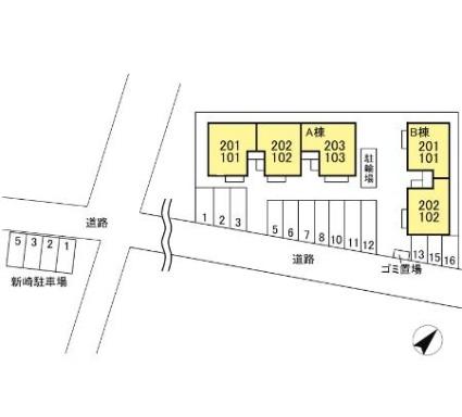 リバープレートつくし A[2DK/48.79m2]の配置図