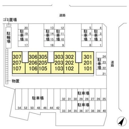 サンルーチェ[1LDK/43.93m2]の配置図