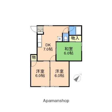 新潟県新潟市西区小針南台[3DK/50.76m2]の間取図