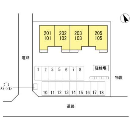 プリマベラ[1LDK/44.5m2]の配置図