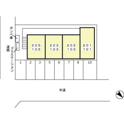 フラッツ槙尾[1DK/29.25m2]の配置図