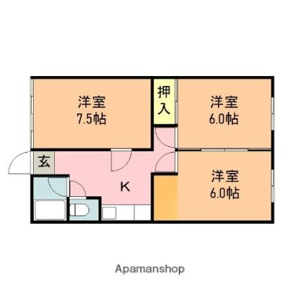 コスモ寺尾[3K/49.6m2]の間取図
