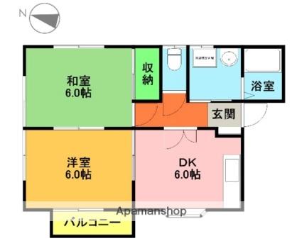 パルクⅡ F棟[2DK/43.06m2]の間取図