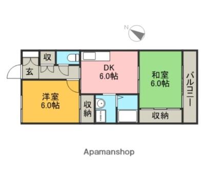 ビッグ・モート・プラザ[2DK/45.54m2]の間取図