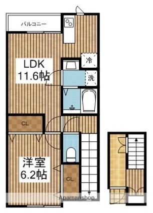 ベル・ヴェール田中町[1LDK/43.65m2]の間取図