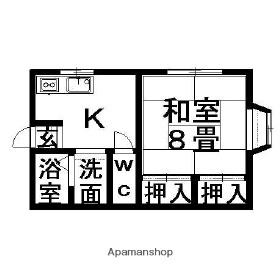 ホワイトハウス[1K/31.75m2]の間取図