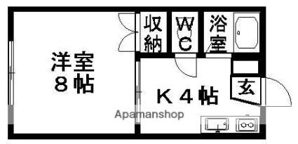 エステート近江B棟[1K/26.71m2]の間取図