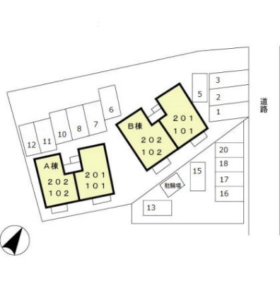 イーストヒルズ AB[2LDK/53.76m2]の配置図