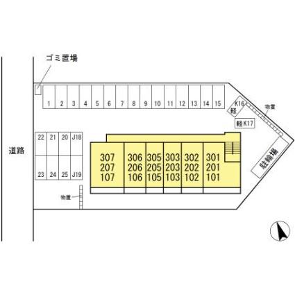 クロスone旭岡[1LDK/41.67m2]の配置図