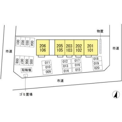 ココアスクエア[1LDK/45.84m2]の配置図