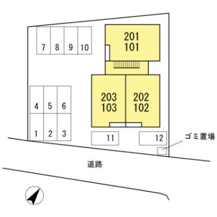 シャイニングビュー[2DK/57.85m2]の配置図