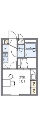 レオパレスミレーヌKIDO[1K/19.87m2]の間取図