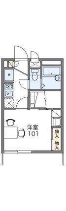 レオパレスメモリアル貞暎[1K/19.87m2]の間取図