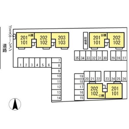 新潟県新潟市秋葉区車場2丁目[2LDK/55.43m2]の配置図